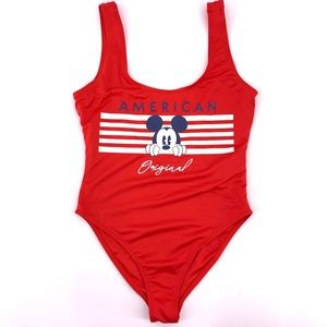 Mickey Mouse Womens Medium One Piece Swim Suit Red